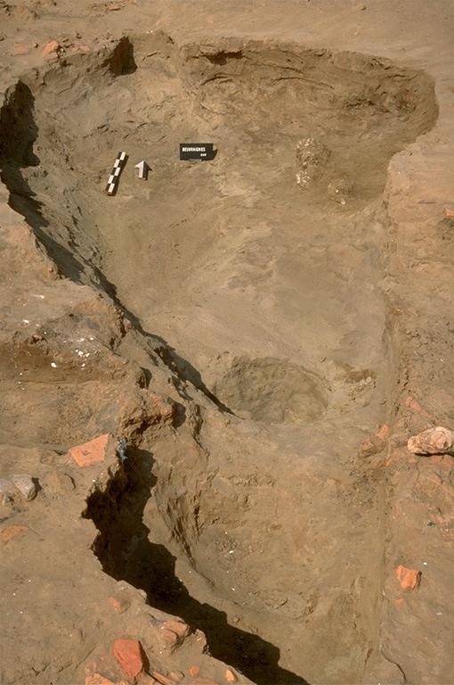 Structure 2054. Cette fosse aux contours très flous, est profonde de 0,50 m. Elle est comblée avec du sable gris noir contenant du charbon de bois.