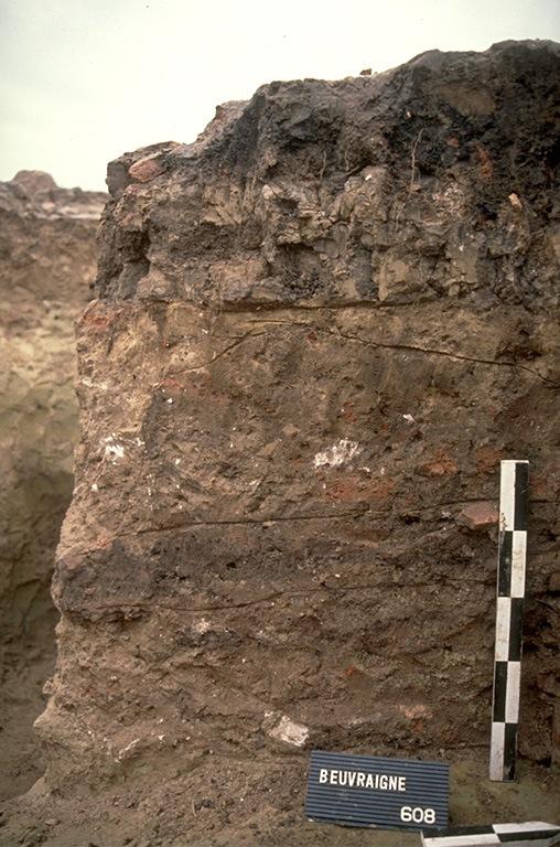 Structure 4030. Cette grande fosse, profonde de 0,30 à 1,10 m, est comblée avec plusieurs couches d'argile grasse. Sa moitié orientale est scellée par un épandage de tuiles en plus ou moins gros fragments qui pourraient correspondre à une toiture effondrée. Un calage de poteau (grès et calcaire) se trouve dans la partie est de la fosse.
