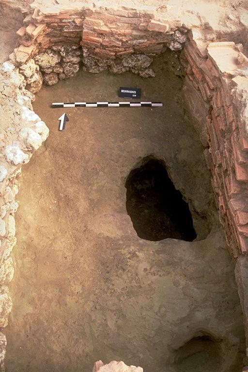 Structure 2031. Cette fosse, profonde de 0,90 m, est aménagée avec de gros blocs de grès, des moellons en calcaire local, quelques rognons de silex et des tuiles entières ou retaillées. Un creusement donne accès à la fosse située à l'est. Une cavité correspondant peut-être à une fosse perdue ou un puisard part en sape sous la paroi. Une autre dépression est creusée dans l'angle. Sur la paroi ouest, on note une poche d'argile sablonneuse grasse de couleur grise, indiquant un écoulement d'argile décantée à partir de la fosse située à l'ouest.