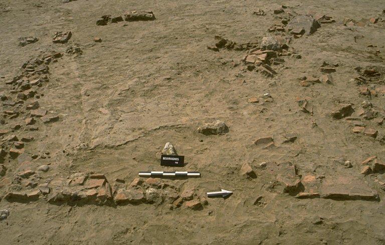 Structure 0021. Bâtiment de 4 x 4,70 m, élevé sur des fondations constituées de tuiles posées à plat et de rognons de silex en moindre quantité. Il semble y avoir un renfort à l'angle sud-ouest. Au centre, un blocage de grès supportait un poteau. Un autre grès de 0,30 sur 0,50 m se trouve dans l'axe du mur nord. Le sol (constitué de petits blocs de craie, ne subsiste qu'à l'état de lambeaux. De très nombreux tessons y étaient pris. A l'est, un épandage de tuiles peut correpondre à l'effondrement d'une galerie couverte. Cette galerie protégeait une installation de tournage matérialisée par un socle circulaire de fragments de tuiles disposées à plat, d'environ 0,95 m de diamètre.
