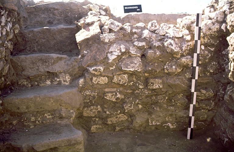 Structure 1061. Un escalier de cinq marches, constituées de blocs et de dalles de grès, s'ouvre dans l'angle sud-ouest. Son ouverture présente un aménagement de tuiles horizontales.