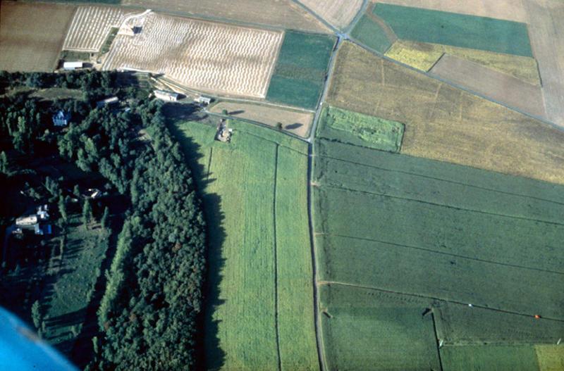 Structure circulaire, traces de parcellaire, indices pédologiques, près du site fouillé par C. Burnez.