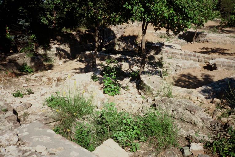 Vue générale des restaurations des ruines.