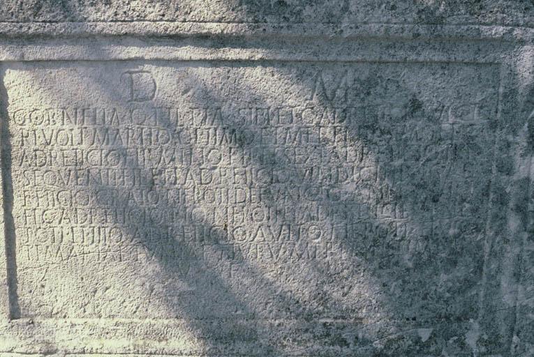 Vue de détail de l'inscription.