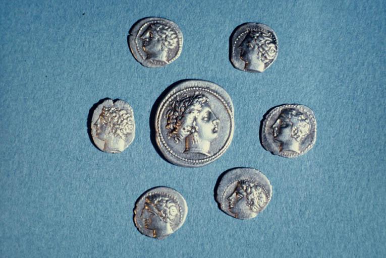 Monnaies marseillaises : droit d'une drachme lourde à l'effigie d'Artémis