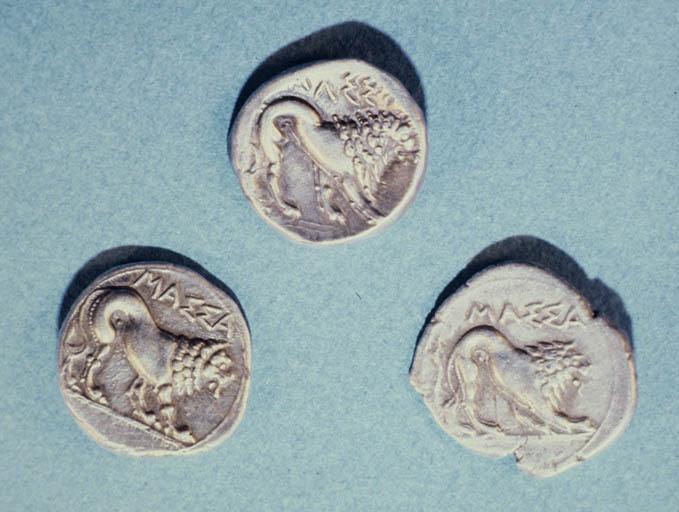 Monnaies marseillaises : revers de 3 drachmes lourdes avec le lion de Marseille