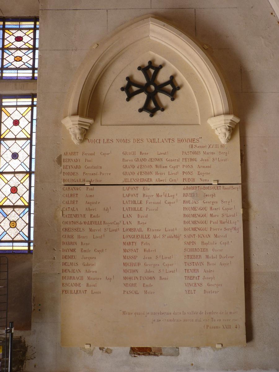 Monument aux morts de la guerre 1914-1918 du temple du Salin
