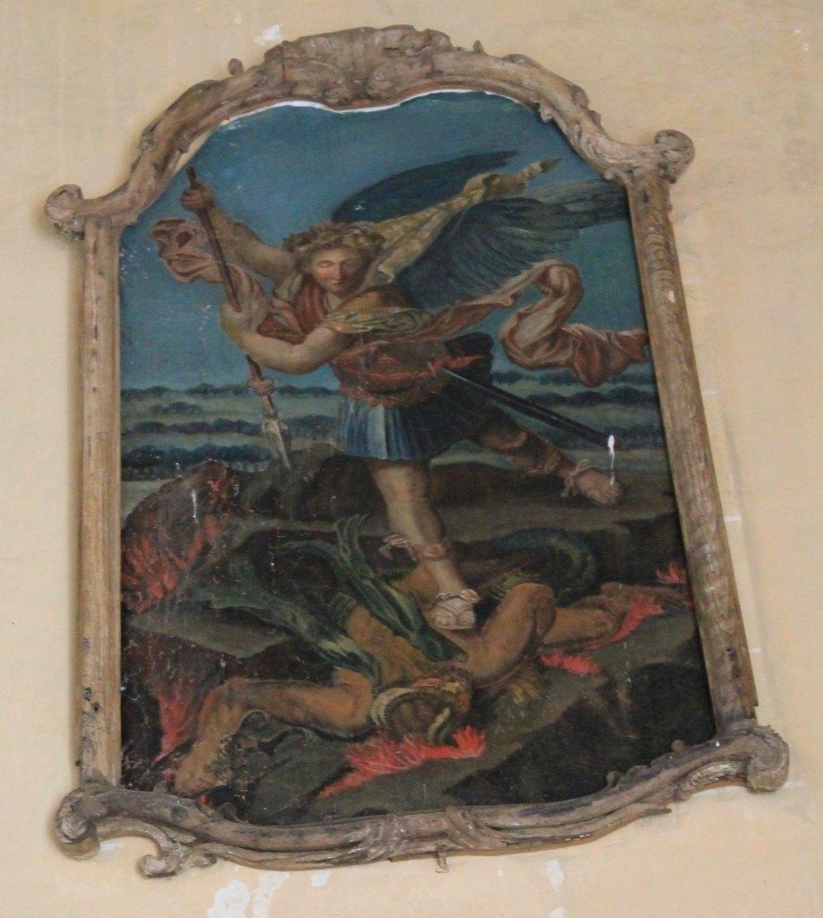Toile peinte : saint Michel terrassant le dragon