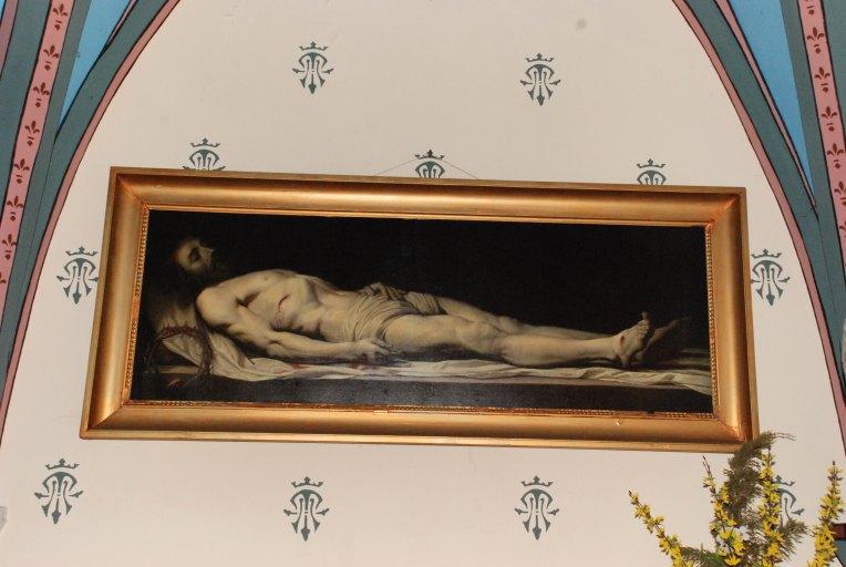 Tableau et son cadre : Le Christ mort couché sur son linceul