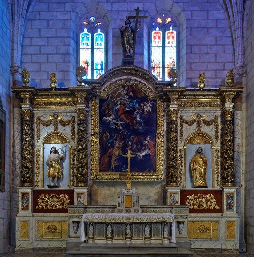 Retable, statue (3), tableau (maître-autel, sculpture : grandeur nature, tableau d'autel) : l'), saint Jean-Baptiste, saint Pierre, style baroque