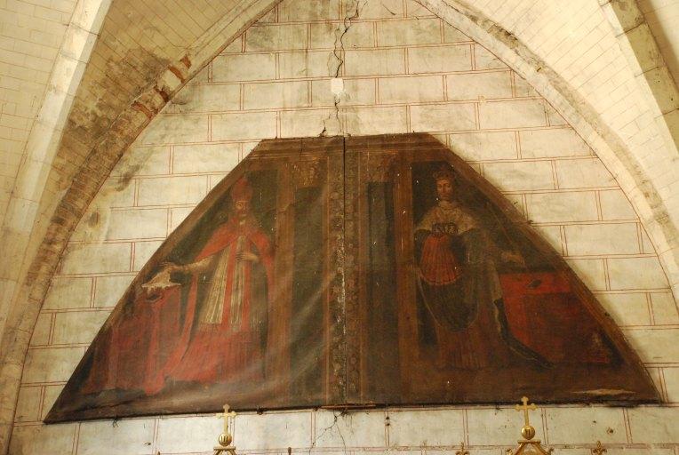 Tableau : saint évêque et saint Louis