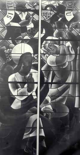 verrière figurée : Le Christ et la Samaritaine
