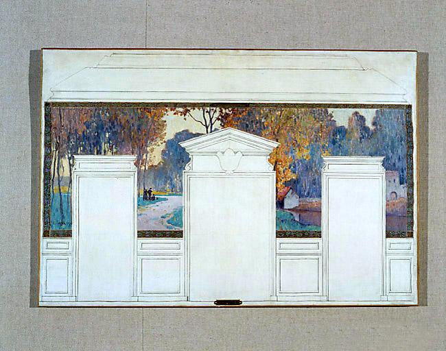 peintures monumentales (2) : Fresnes, Sur le plateau, Les batteurs de blé, Une place de Fresnes, Les carrières, Le labour au déclin du jour