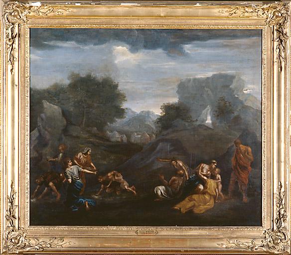 Tableau : les israélites recueillant la manne dans le désert