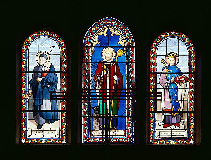 Verrière (verrière à personnages, verrière hagiographique) : saint Eloi, saint Vincent de Paul, saint Louis (baie 0)