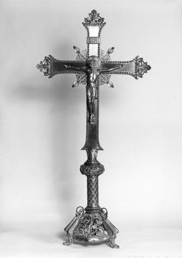 Croix d'autel et 4 chandeliers