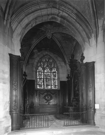 Ensemble de la chapelle Saint-Barthélémy : lambris de revêtement, autel, tabernacle, retable, tableau d'autel