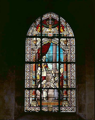 verrière (baie n°16) : La présentation de la Vierge au Temple