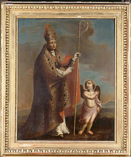 tableau : saint Nicolas guidé par un ange