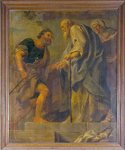 tableau : saint Joseph accueilli par saint Joachim et sainte Anne