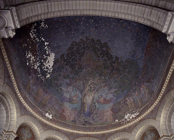 Ensemble du décor de choeur (peinture monumentale) : histoire du sanctuaire de Notre-Dame de Longpont