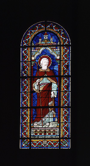 Ensemble de 2 verrières figurées en pendant : saint Joachim, Education de la Vierge (baies 1 et 2)