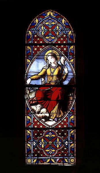 19 verrières figurées : sainte Geneviève filant la laine