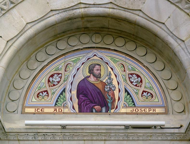 revêtement mural, décor de l'élévation extérieure : Christ, saint Joseph, Vierge, saints et saintes