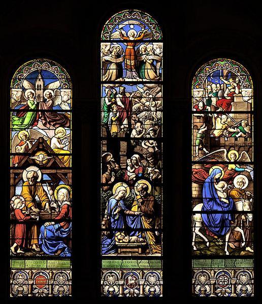 7 verrières historiées et figurées : Sainte famille, Nativité, Fuite en Egypte, prophètes et rois (baies 0, 1, 3, 5, 2, 4 et 6)