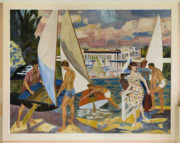 Peinture Le lac et le casino d'Enghien