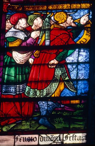 verrière : baie n°102, Juifs présentant le Christ à Pilate