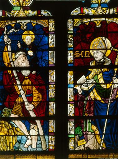 verrière (baie n°0) : saint Christophe, saint Clair