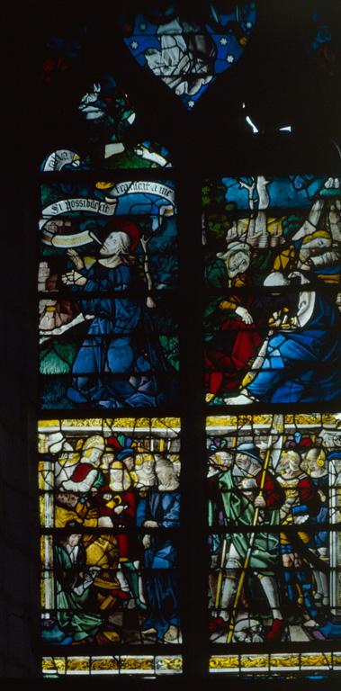verrière (baie n°101) : Comparution devant Pilate, Jésus au Jardin des Oliviers