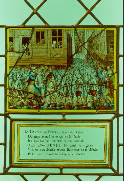 Verrière figurée : Henri IV se rend à Notre-Dame de Paris