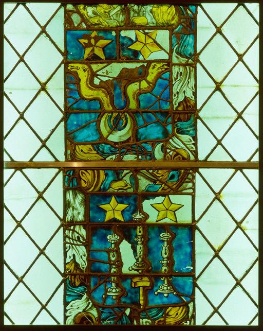 Verrière héraldique (baie 106, grisaille figurée)