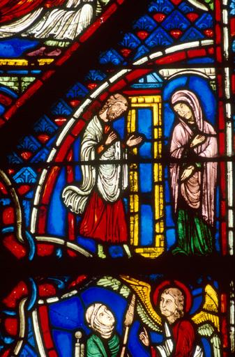 Verrière légendaire : Vie de la Vierge (baie 1)