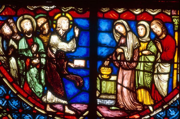 Verrière légendaire : vie publique du Christ (baie 4)