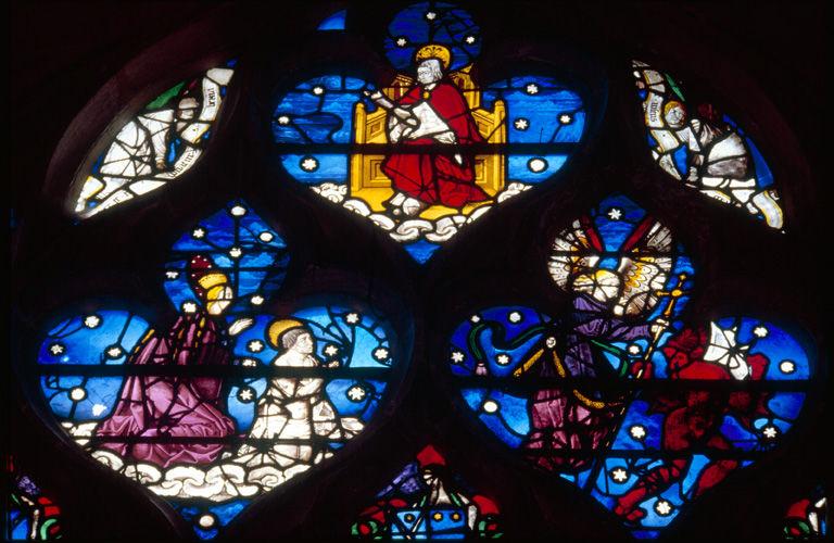 verrière : baie n°14, Vierge présentant Théophile, un ange chasse un démon, Christ trônant