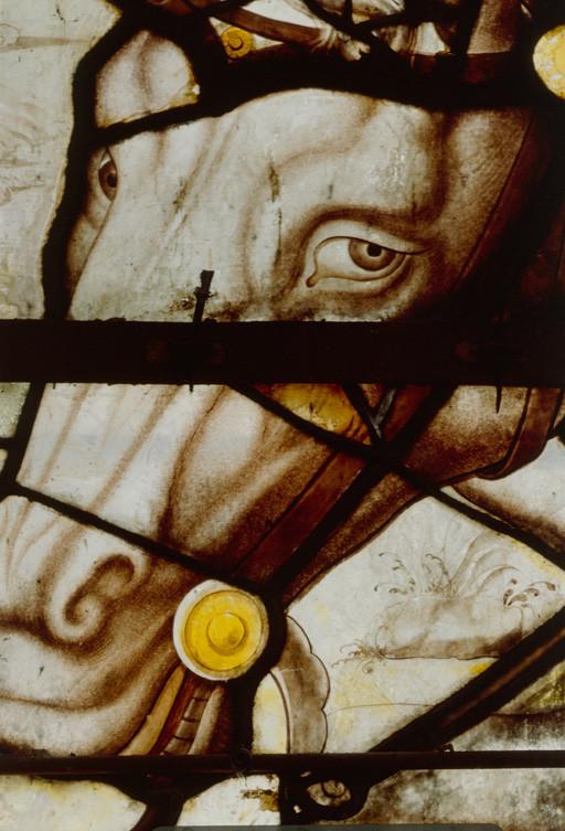 Verrière : combat de saint Jacques contre les Maures à Simancas (baie 11), grisaille figurée