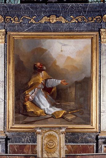 Tableau, cadre : saint Remi recevant la sainte ampoule