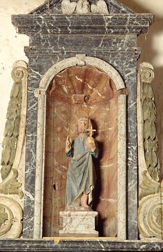 statue : Christ avec le globe