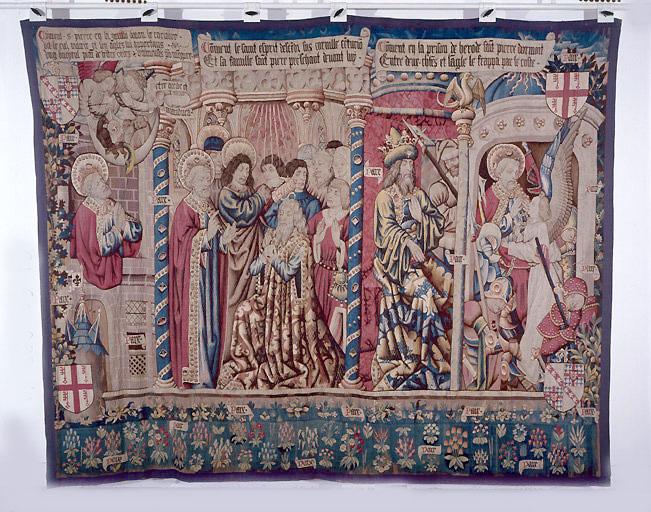 Pièce murale : La Vision des animaux impurs, le Baptême du centurion Corneille et l''Emprisonnement de saint Pierre