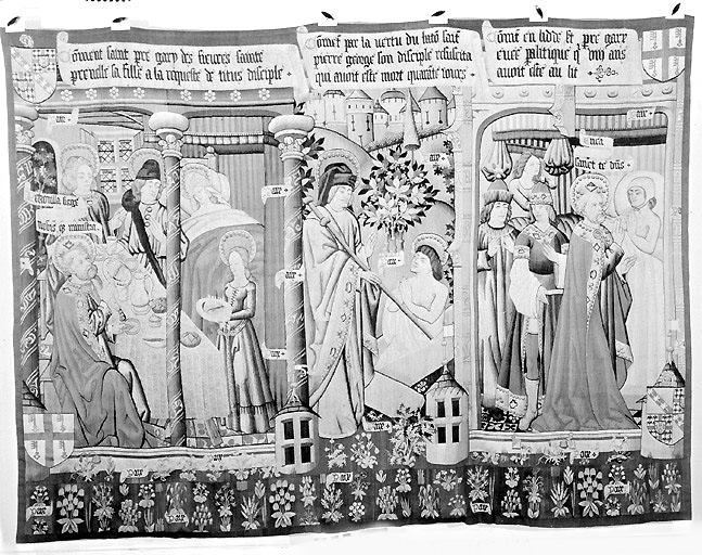 Ensemble de six pièces murales : Scènes de la vie de saint Pierre