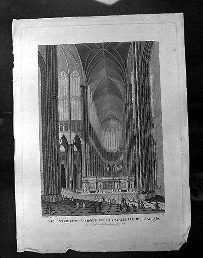 estampe : vue intérieure de la cathédrale de Beauvais (n°1)