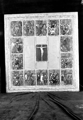 Tableau (quatorze plaques émaillées et une plaque de cuivre) : Vie du Christ