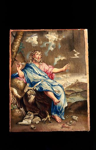 Paire de tableaux de tapisserie : Saint Jean et saint Luc