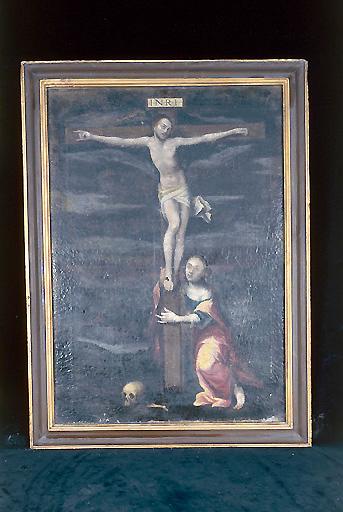 Tableau : Christ en croix avec Marie-Madeleine