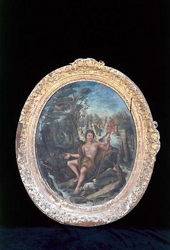 Paire de tableaux avec leurs cadres : Saint Jean-Baptiste et saint Charles Borromée