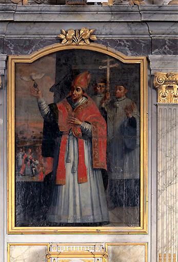 Tableau d'autel : Saint Remi recevant le saint chrême du baptême de Clovis