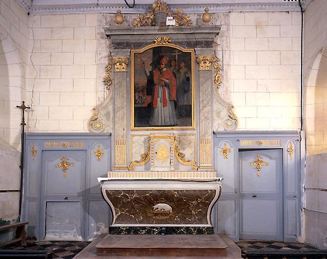 Ensemble du décor du choeur (lambris de demi-revêtement, maître-autel, tabernacle, retable, tableau d'autel)